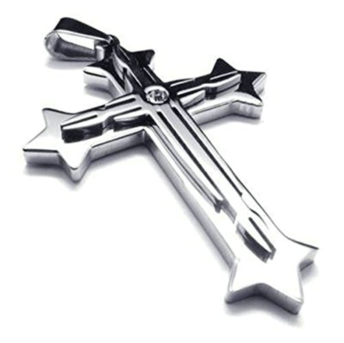 bishilin-6239mm-stainless-steel-silver-flueree-cross-pendant-necklace