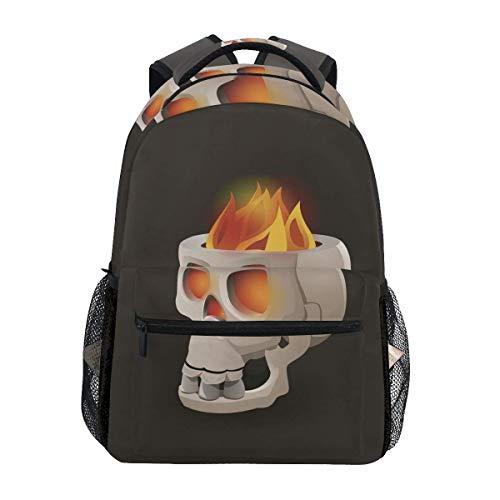 CVDGSAD Skull Fire Mask Bookbag School Student Backpack for Travel Teen Girls Boys Kid