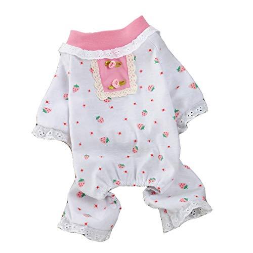 Haustiere Pyjamas Overall Frühling und Sommer Kleidung Dünnschliff Vierbeiner Design Strawberry Print Geeignet für kleine Hunde Cat Pink (Farbe : Rosa, größe : L) ()