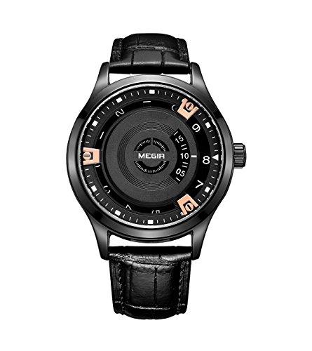 Megir pour homme Mode spécial classique décontracté montre à quartz, bracelet cuir, fermoir à boucle (Or rose)