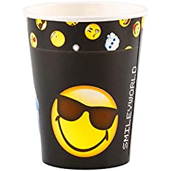 Amakando 8 Vasos Desechables diseño Smiley / 250 ML de Capacidad / Loza de único Uso diseño Emoji Vaso desechable / Mejor elección para Fiestas en el jardín y Fiestas Infantiles