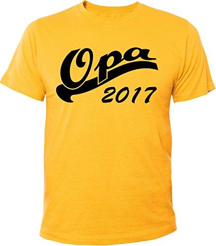 Mister Merchandise Herren Men T-Shirt Opa 2017 Tee Shirt bedruckt Gelb