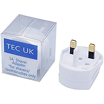 Tec UK -Shaver adaptor UK 2 To 3 Pin 1A Fuse Adaptor Plug for Shaver/Toothbrush