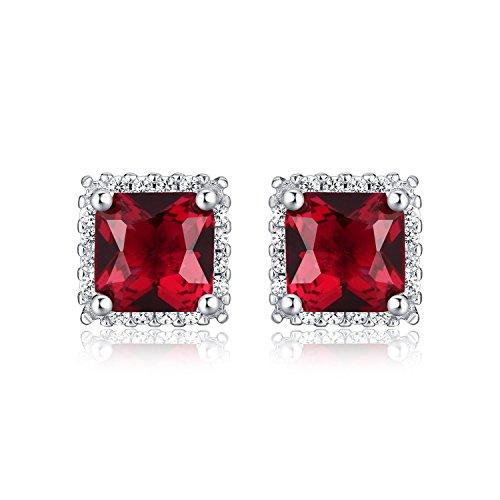 Diamond Treats Orecchini ARGENTO 925 STERLING Finto Rubino Rosso Quadrato Scintillante & PERFETTO Zircone Bianco Cubico Scintillante. Orecchini Alone Argento Rubino Regalo Perfetto Donne.
