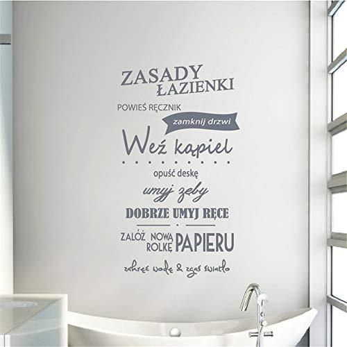 Polnische Badezimmer Regeln Zitat Vinyl Wandaufkleber WC Art Wall Decor, Polen Badezimmer Naklejka Wall Art Decals Dekoracja Domowa 138 * 80cm