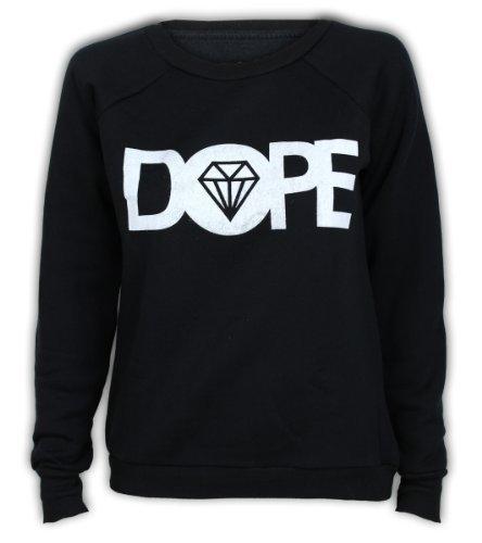 damen-sweatshirt-frauen-top-pullover-dope-aufdrcuk-fleece-freizeit-winter-pez-schwarz-m-l