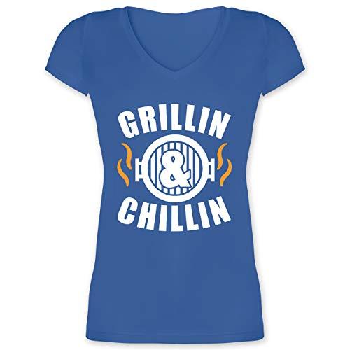 Grill - Grilling & Chillin - XL - Blau - XO1525 - Damen T-Shirt mit V-Ausschnitt - Chillin Lange Ärmel