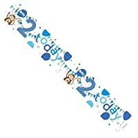Age 2 Boy Blue Foil Party Banner - I Am 2 Today - Monkeys, Balloons & Bunting