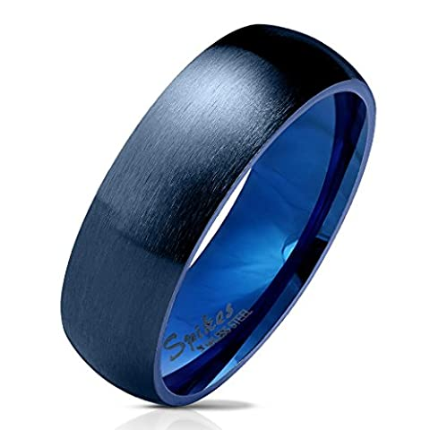 Paula & Fritz® matt poliert 6mm breit Edelstahlring Damen-ring Verlobungs-ring Freundschaftsring Herrenring Partnerring Dome blau 61 (19.5)