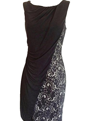 KAREN-MILLEN-Black-Lace-and-Jersey-Draped-Dress