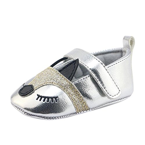Elecenty scarpe per bambini neonate neonate fox modello presepe scarpe morbide suola antiscivolo scarpe da ginnastica (età:0~6 mesi, argento)
