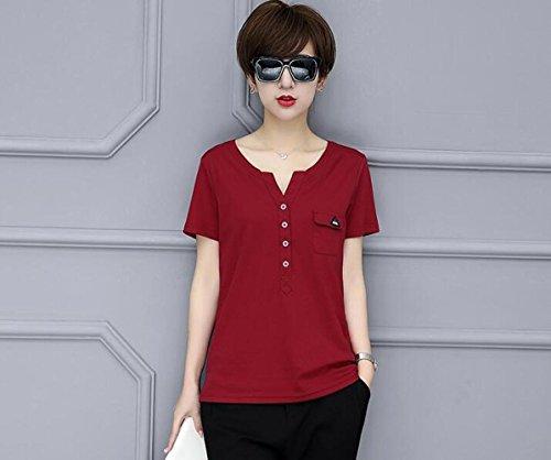 MOMO412654 T-shirt décontracté en coton à col en v simple pour femmes T-shirt décontracté en vrac à manches courtes pour homme,rouge