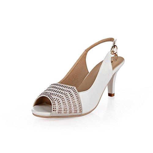 Sfsyddy-7.5cm Sandales Blanches À Talons Sandales Destate Talons Bouche De Poisson Chaussures À Eau De Mode Chaussures D'exercice 39 Trente-neuf
