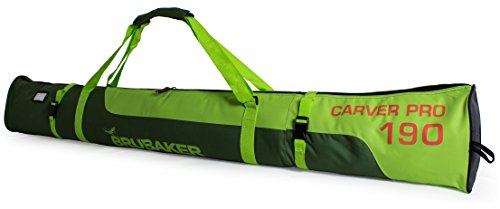BRUBAKER Skitasche Carver Pro Limited Edition gepolsterter Skisack für 1 Paar Ski und Stöcke 190 cm Dunkelgrün Grün