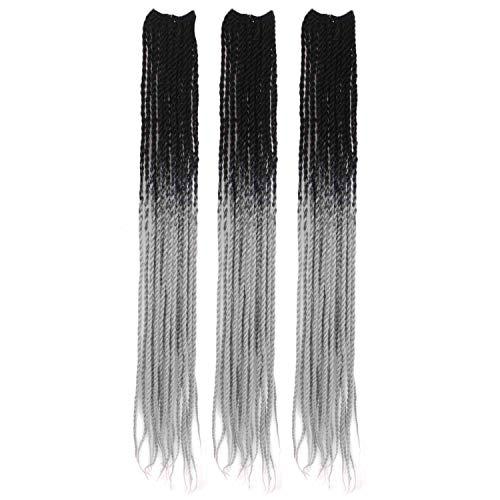 MapofBeauty Großhandel 3 Stück 26 Zoll/65cm Farbverlauf lange Afro Reggae Twist Flechten Crochet Zöpfe synthetische Haarverlängerungen (Schwarz Braun/Silber)