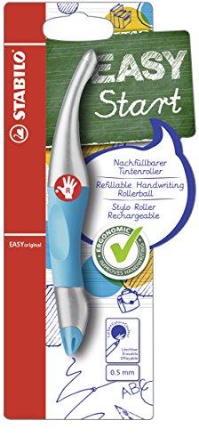 Ergonomischer Tintenroller für Rechtshänder - STABILO EASYoriginal metallic in neonblau/metallic - Schreibfarbe blau (löschbar) - inklusive Patrone