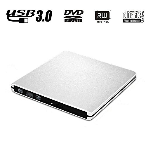Jhua Externes DVD-Laufwerk USB 3.0 Hochgeschwindigkeits-externes CD-DVD-RW-Laufwerk Ultra-dünner tragbarer CD-DVD-RW-Brenner für Apple Macbook Air / Macbook Pro & Other PC / Laptop mit USB-Anschluss Silber