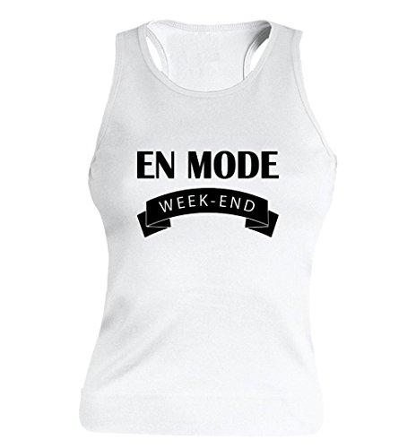"""T-shirt Femme 100% Coton - """"En mode week-end"""" - Sans Manches Blanc"""