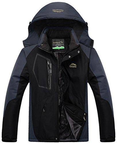 Fleece-ski-jacke (Sawadikaa Herren Winter Outdoorjacke wasserdicht Wandern Fleece Übergröße Skijacke Regenjacke Sportbekleidung Schwarz Herstellergröße 4XL, UK Large)