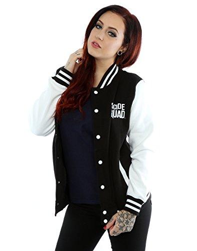 Suicide Squad Donna Joker Tattoo Giacca Varsity Large Nero bianco