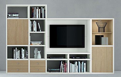 Wohnzimmer weiß lackiert - Eiche Sonoma Bücherregal WohnwandFernsehschrank