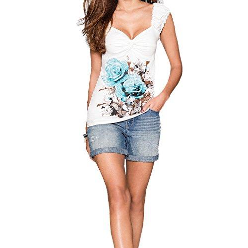 Longra Donna Maglia senza maniche con stampa V colletto Blu