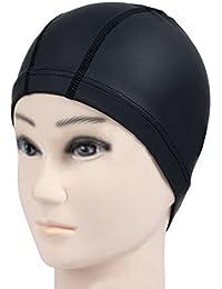 Hrph Nueva elástico impermeable PU Tela Proteja los oídos largos Deportes del pelo de la nadada piscina sombrero de gorro de baño