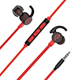 Wired earbuds, Parasom M2 PH Magnetic In-ear Stereo earphones, 3.5mm handsfree sports headphones with mic & volume control for Android/IOS (red)