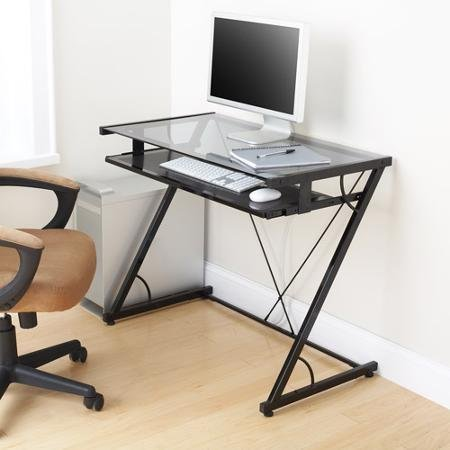 Space-saver Computer Desk (Black) with Tempered Smoke Glass Top and Z-shaped Metal Support - Features Pull-out Tray for Keyboard and Mouse (Task Chair Is Not Included) by Mainstays - Pull-out Keyboard Tray