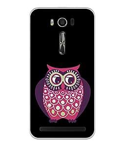 PrintVisa Designer Back Case Cover for Asus Zenfone 2 Laser ZE500KL (pink purple owl dark background)