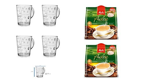 Kaffeepads Auslese 16 Stk 2er Pack + 4er Set Gläser mit Henkel 280ml ...