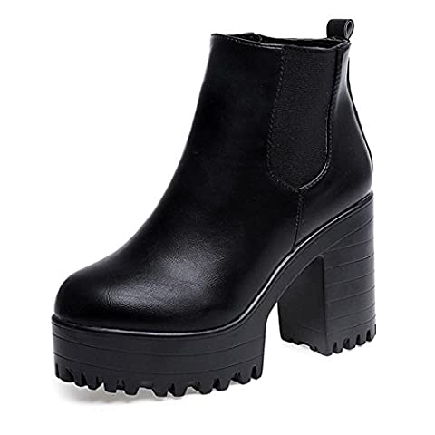 WalshK Autumn Women Boots Square Heel Platforms Leather Thigh High Pump Boots Shoes (4.5, Black)