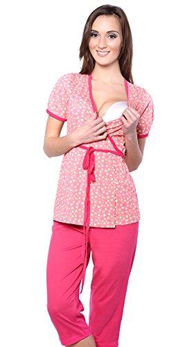 2 en 1 Maternité/Allaitement 100% Coton Pyjama a 2 Pieces 5001 (EU 36, Abricot/Rouge)
