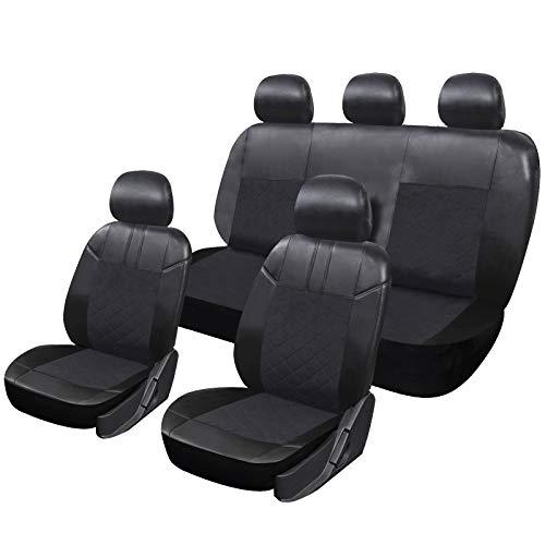 WOLTU Coprisedile Universale Auto Set Cover Progezioni per Sedili con Copricuscino a 5 Posti Ecopelle Nero