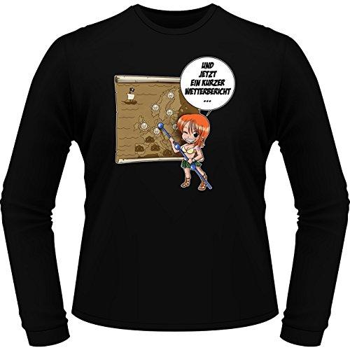 Parodie auf Nami von One Piece - Manga Langarm T-shirt (702) Schwarz