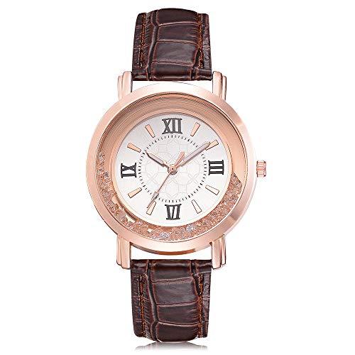 Damen Armbanduhr,Alaso Damenmode Luxus Freizeit Set Auger Leder Edelstahl Quarz Uhr