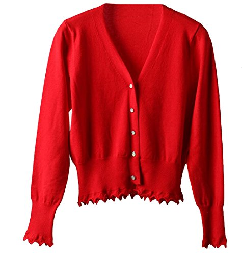 CuteRose Womens Long Sleeve Soft Cotton V Neck Large Size Knitwear Red XL (Knit Cable Tank)
