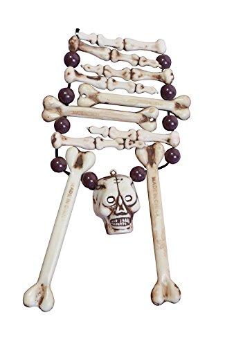 Esqueleto Hueso Collar Caníbal Halloween Edad Piedra Accesorio De Disfraz Voodoo
