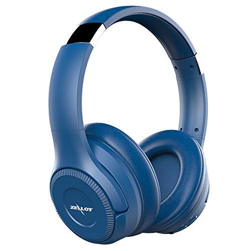 Zealot B26T - Cuffie on-ear wireless bluetooth, con controllo della musica integrato e microfono, compatibili con dispositivi Apple e Android Blu