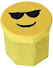 Hanumex Funny Emoji Ottoman Foldable Kids Toys Organizer Storage Stool Box for Sit and Store Valuables (Standard Size, Yellow)