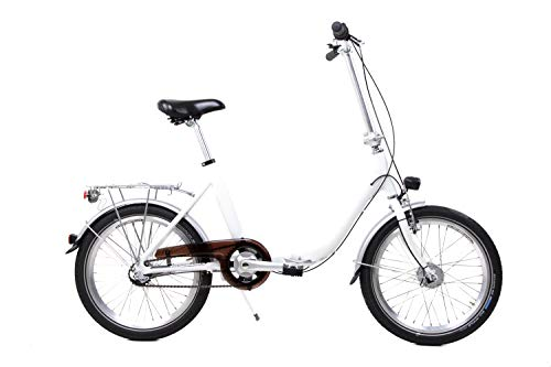 20 Zoll Alu Klapp Rad Falt Fahrrad Folding Bike Shimano 7 Gang Nabendynamo Tiefeinsteiger weiß Glanz