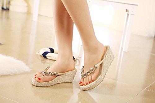 DQQ pour femme en métal avec perles Wedge Flip Flop Sandale Beige