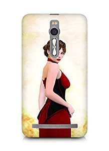 Amez designer printed 3d premium high quality back case cover for Asus Zenfone 2 (A woman wearing a red dress)