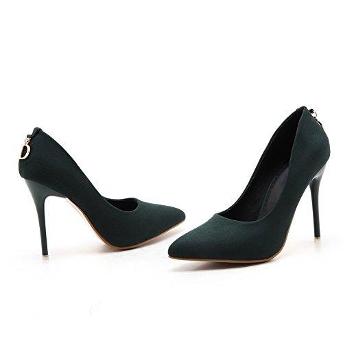 Pu Chaussures Couleur Légeres Cuir Tire Femme Unie VogueZone009 Vert Pointu Oq6AAp