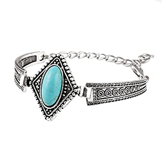 ANDAY Vintage Retro Tibet Silver Cameo Bohemian Oval Turoquoise Gem Bracelet Bangle