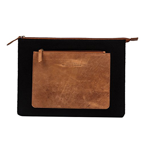 13 - 13.3 inch Compatible for Apple MacBook Leather Laptop sleeve with Front Pocket   Compartment Handmade Unisex Sleeve Bag, Body in Felt Soft Black and Brown by The Leather Warehouse - Black Cow Geldbörse