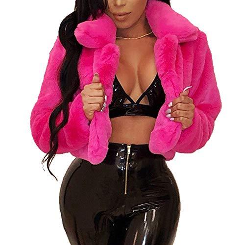 Kelly Mantel 2018 Damen Herbst und Winter Lose Pelzjacke Kurzjacke Fleecejacke Warmer Jacke Mode Outwear Wintermantel(S,Hot Pink)