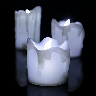Realistic Flameless Candles by Youngerbaby, Set of 3 Cool White Flickering Faux Pillars Fake Battery Operated Candle Light for Home, Weddings, Bedroom, Living Room, Party ,Halloween Decoration from Youngerbaby