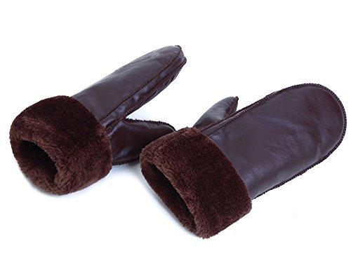 Hii-Yo Women and Men Winter Gloves Thick Suede Velvet Riding Outdoor Warm Mittens CoffeeB