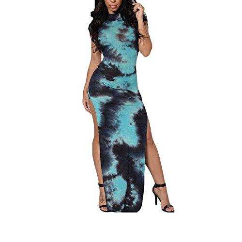 PU&PU Femmes Casual / Sortie / Soirée Teinture et impression Cheongsam, col roulé à manches courtes Ouverture latérale blue